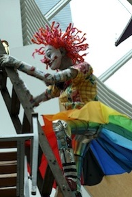 Recycled clown sculpture by Michelle Reader (detail)