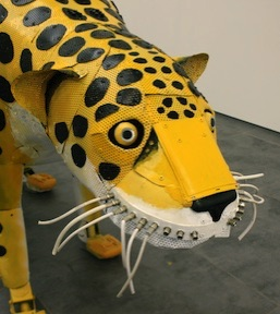 Recycled jaguar sculpture by Michelle Reader (detail)
